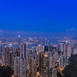 Blue Hour at the Peak by Julius Santos - City,  Street & Park  Vistas ( hong kong, peak, blue hour, scenic, architecture )
