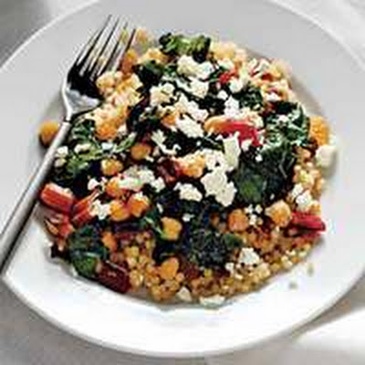 Couscous with Swiss Chard, Raisins and Feta