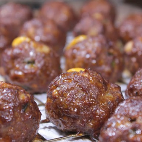 Cheesy Smoked Meatballs for Super Bowl