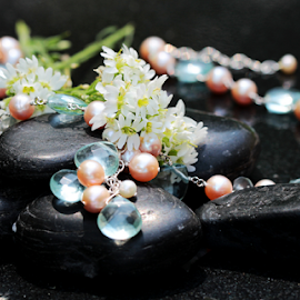 by Dipali S - Artistic Objects Jewelry ( pearl, still life, artistic, jewelry, flowers, stones, rocks, necklace, object )