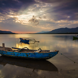 blue boat by Budi Astawa - Transportation Boats ( karangsewu, boat )