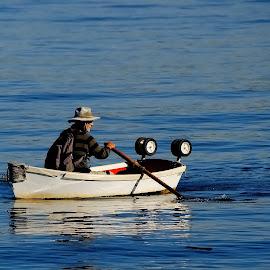 Urban Sailor by Craig Carter - People Street & Candids ( water, san diego bay, row boat, waves, solitude, sailor )