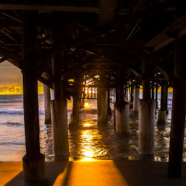 Under a Morning Sky by Chris Parker - Landscapes Sunsets & Sunrises ( water, bright, waves, beautiful, under, ocean, beach, dock, coast, brevard, gorgeous, county, florida, cocoa, pier, lovely, thoughtful, sunlit )