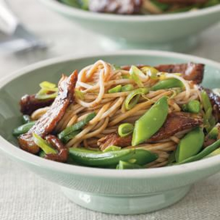 Stir-Fried Pork and Sugar Snaps with Soba Noodles Recipe | Yummly