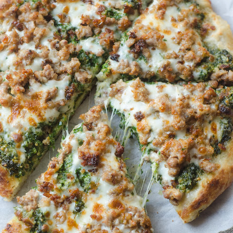 Sausage and Kale Pesto Pizza