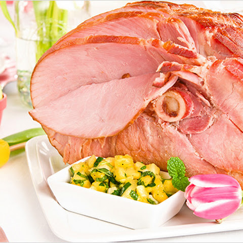 Baked Ham with Pineapple-Mint Chutney