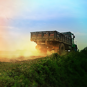 dust & Truck by Abhishek Mandal - Transportation Automobiles ( village, truck, india, rural, color, colors, landscape, portrait, object, filter forge )