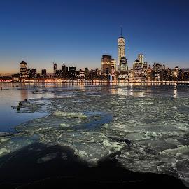 Freedom Tower @ 17° Fahrenheit by Gary Aidekman - Landscapes Sunsets & Sunrises ( new york skyline, ice, new york city, sunrise, frozen, freedom tower, river )