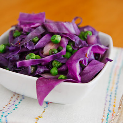 Red Cabbage and Peas with Cumin and Mustard Seeds