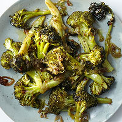 Roasted Broccoli with Shallots & Crushed Red Pepper