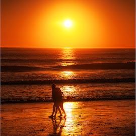 Hot August Night by Maricha  Knight van Heerden - Landscapes Sunsets & Sunrises ( friends, lovers, waves, sunset, strand, blouberg, beach, walk, walkers )