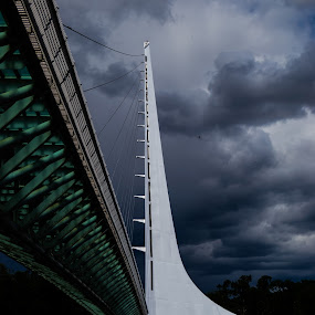 Sun Dial Bridge 3 by Scott Morgan - Buildings & Architecture Bridges & Suspended Structures ( sundial, clouds, functioning, california, redding, white, bridge, storm, angle,  )