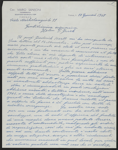 Page one of letter (in Italian) from Mario Sansoni describing the terrible wartime conditions in Italy and his desire to assist the Allied Office for the Protection of Monuments.
