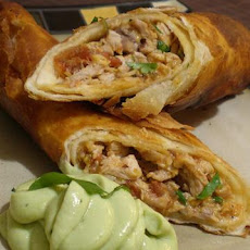 Flautas De Pollo With Avocado Cream