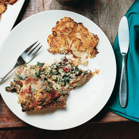 Sausage, Roasted Red Pepper, and Spinach Torta Rustica