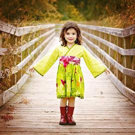 Girl on a Bridge by Darya Morreale - Babies & Children Child Portraits ( girl, autumn, fall, bridge, portrait,  )