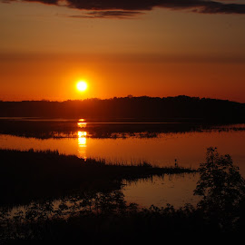 sunset over the pond by Heather Donahue - Landscapes Sunsets & Sunrises