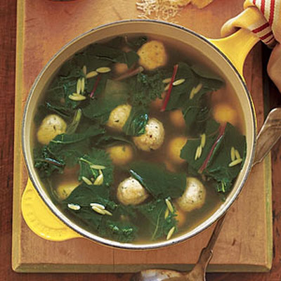 Chicken Meatball and Greens Soup