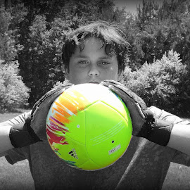 Goalie by Melissa Parrish - Sports & Fitness Soccer/Association football ( select color, girls soccer, goalie, keeper, soccer, selective color, pwc )