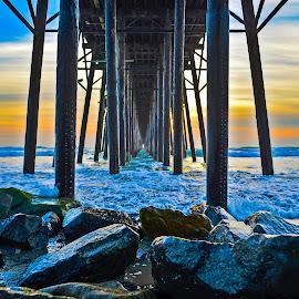 Oceanside Pier by Art LA - Buildings & Architecture Other Exteriors ( oceanside, under the pier, socal, surfer, sunset, surfers paradise, pacific ocean, summer, pier )