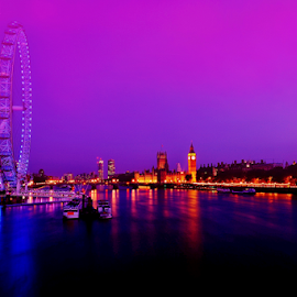 Pink Evening by Vineet Johri - City,  Street & Park  Skylines ( london eye, london landmark, thames, pink sky, vkumar photography, big ben, the mood factory, mood, lighting, sassy, pink, colored, colorful, scenic, artificial, lights, scents, senses, hot pink, confident, fun, mood factory  )
