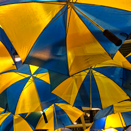 Umbrellas by Robert Namer - Instagram & Mobile iPhone ( lights, iphoneography, umbrellas, iphoneart, decoration, artistic, lightroom, yellow, iphone, blues, photoshop )