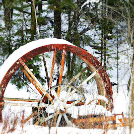 Water wheel by Phil Johnson - Novices Only Objects & Still Life ( winter, snow, waterwheel, adirondacks, antique )
