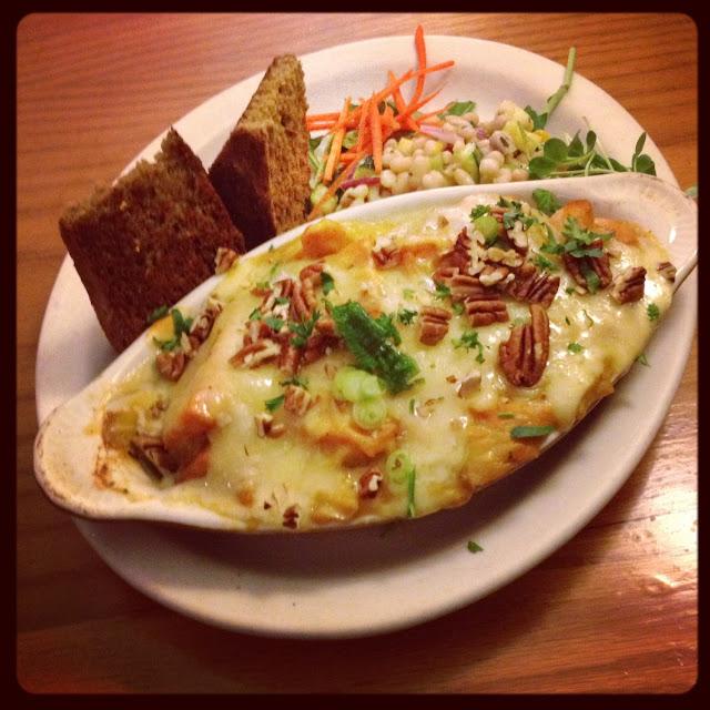 Sweet potato gratin w/GF corn bread and navy bean & baby kale salad