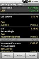 Screenshot of gbaMoney Trial Money Tracking