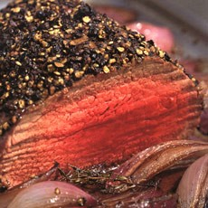 Pepper-Crusted Fillet of Beef with Roasted Balsamic Onions and Thyme