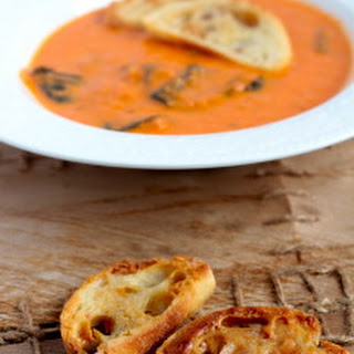 Tomato Florentine Soup with Peanut Butter Crostini
