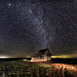 School House Under the Stars by Eric Demattos - Buildings & Architecture Decaying & Abandoned ( school house, stars, night, astronomy, abandoned )