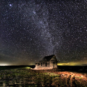 School House Under the Stars by Eric Demattos - Buildings & Architecture Decaying & Abandoned ( school house, stars, night, astronomy, abandoned,  )