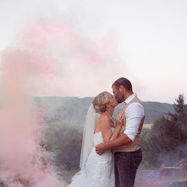 Up in Smoke by Kate Gansneder - Wedding Bride & Groom ( kiss, wedding, couple, pink, smoke )