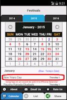 Screenshot of Indian Festivals Calendar