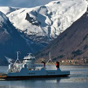 Ferry by Janne Monsen - Transportation Boats ( sogn, vangsnes, kvinnafossen, hella, norway )