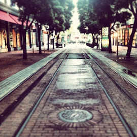 by Bill (THECREOS) Davis - Instagram & Mobile iPhone ( turntable, cable car, tracks, san francisco, powell st, early morning )