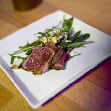 Black and Blue Lamb, Pistachio and Arugula Salad