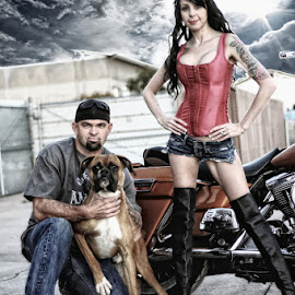 by Condie Friddle - People Body Art/Tattoos ( harley davidson, bike, high contrast, dog, female model )