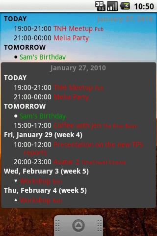 CalWidget カレンダーのウィジェット