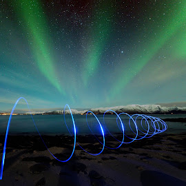 Playing with light under the northern lights by Marius Birkeland - Abstract Light Painting ( sky, light painting, blue, aurora borealis, aurora )