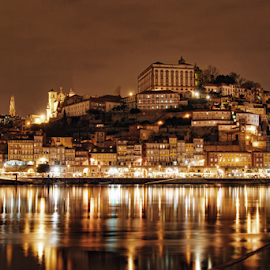 Porto by Antonio Amen - City,  Street & Park  Night ( portobynight, river douro, world heritage, douro, porto )