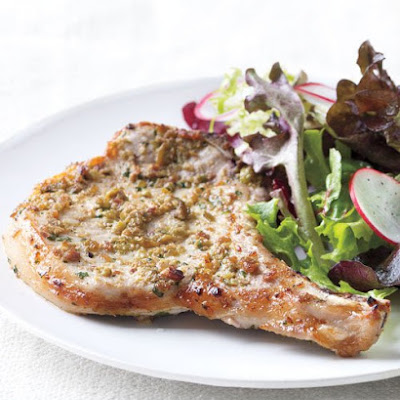 Tapenade Pork Chops with Green Salad
