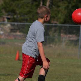 First Practice Ever by Lora Treat - Sports & Fitness Soccer/Association football ( color, soccer ball, action, boy, soccer )