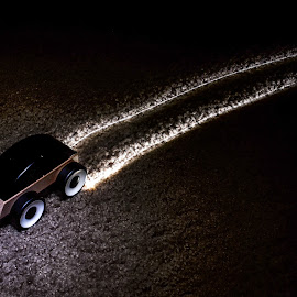 Night Driving by Justin Murazzo - Abstract Light Painting ( car, flash, wheel, white, experimental, carpet, tire, contrast, toy, drive, experiment, dark, clarity, night, brown, burn, burnout, light, painting, spotlight, black, go, out )