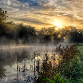 Sunrise Over a Foggy Ohio Pond by Martin Belan - Landscapes Sunsets & Sunrises ( ohio, fog, lakes, fog rising on a pond, sunrise, landscape,  )