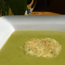 Spring Asparagus Soup with Warm Herbed Chevre Crouton