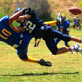 Oh man this is going to hurt! by Kevin Mummau - Sports & Fitness American and Canadian football ( sack, flight, football, airborne, fumble )