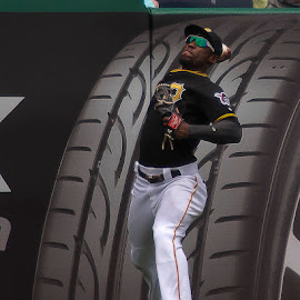 Starling Marte throw to home by Daniel Decker - Sports & Fitness Baseball ( throw, pnc park, pirates, marte, pittsburgh, left field, baseball, lf, mlb )