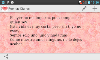 Screenshot of Daily Poems in Spanish